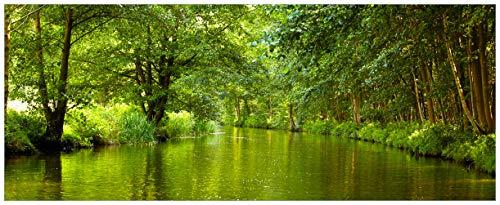 Wallario Acrylglasbild XXL Spreewald in Brandenburg grüne Wälder und Spiegelungen im Wasser - 80 x 200 cm in Premium-Qualität: Brillante Farben, freischwebende Optik