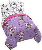 Disney Minnie Mouse Purple Love - Juego de cama de 5 piezas, incluye edredón reversible y juego de sábanas, poliéster súper suave resistente a la decoloración (producto oficial de Disney)