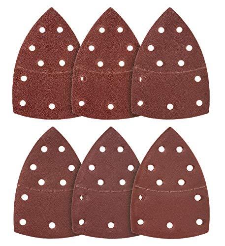 Triángulo de lijado Prio, 100 unidades, 11 orificios, 105 x 152 mm, grano 80, para lijadoras múltiples, almohadillas triangulares, papel de lija