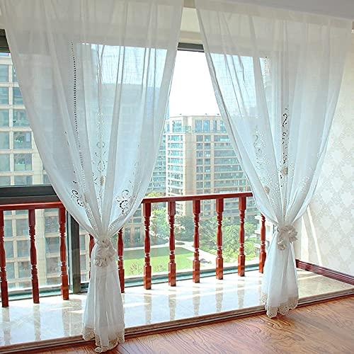 Choicehot Cortina de estilo rústico de ganchillo hueco, estilo europeo, cortina de ventana, romántica, blanca, para salón, vintage, elegante, de encaje, 1 unidad, 150 x 180 cm
