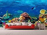 Fotomural Vinilo Pared Corales y Especies Fondo Marino | Fotomural para Paredes | Mural | Vinilo Decorativo | Varias Medidas 200 x 150 cm | Decoración comedores, Salones, Habitaciones.