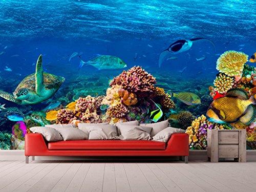 Fotomural Vinilo Pared Corales y Especies Fondo Marino   Fotomural para Paredes   Mural   Vinilo Decorativo   Varias Medidas 200 x 150 cm   Decoración comedores, Salones, Habitaciones.