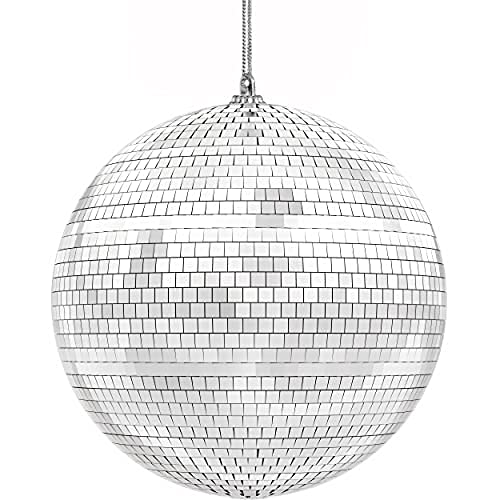 The Dreidel Company Mirror Disco Ball 7' Inch, Silver Hanging Ball with Attached String for Ring, Reflects Light, Fun Party Home Bands Decorations, Party Favor (Single) (Single)