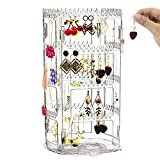 Earring Holder and Jewelry Organizer, 360° Rotating Earring Organizer, 4 Tier Acrylic Earring Display Stand, Clear Jewelry Rack for Necklaces Earrings Piercings Bracelets (160 Holes and 168 Grooves)