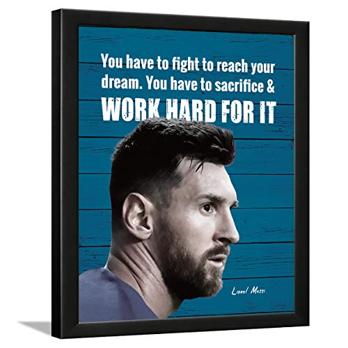 Chaka Chaundh - Lionel Messi quotes posters - Messi quotes frame - motivational quotes frames - poster with frame – Quotes wall frames - (13.5 X 10.5 Inches) (Blue - Wood - Vintage)