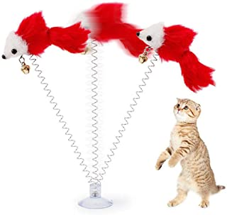 khkadiwb Cat Toys/Interactive Cat Toys/Cat Accessories/Lovely Sucker Spring Plush Mouse Pet Cat Kitten Teasing Play Interactive Toy - Random Color Having Fun Exercise Playing