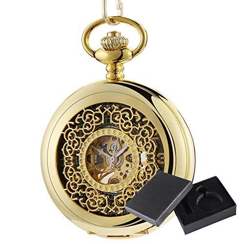 XTQDM Reloj de Bolsillo,Colgantes Dorados Reloj de Bolsillo Exquisito Reloj mecánico Hueco de Cuerda Manual Collar de Cadena Fob Reloj Hombres Mujeres Regalo goldwithbox