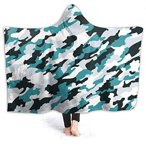 Manta portátil para hombres y mujeres, ilustración inspirada en el océano acuático, textura de ocultación de azulejo marino, súper suave y cálida manta con capucha de 152 x 122 cm