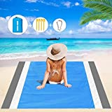 9. Mumu Sugar Sand Free Beach Blanket, 79''×83'' Extra Large Outdoor Picnic Blanket Waterproof Sand Proof Beach Mat for Travel, Camping, Hiking and Music Festivals (Gray-White-Blue)