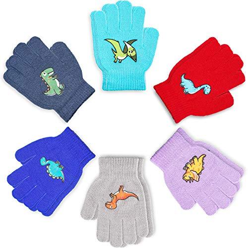 SATINIOR 6 Paar Kinder warm Gestrickte Fäustlinge Feste Farben Unisex Winter Stretch Fäustlinge Handschuhe für 6-12 Jahre alte Jungen, Mädchen, Kinder, Kinder, Dinosaurier-Serie