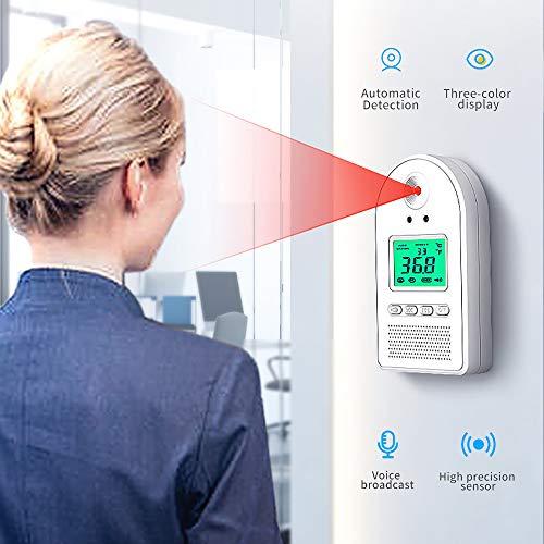 Mural Jauge mesure température infrarouge, mains-libres Voice Alarm Scanner de température sans contact, pour la lecture rapide de la température de mesure dans les supermarchés et les écoles