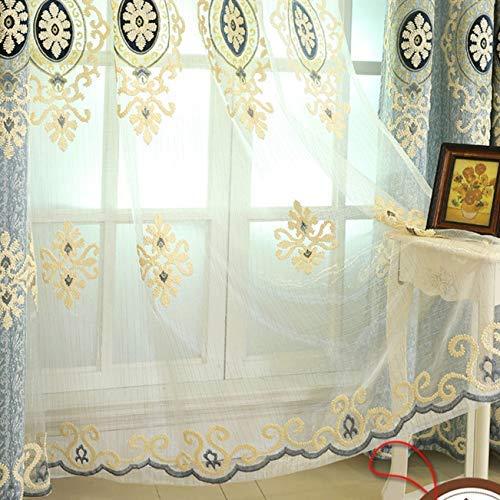 adaada 2er-Set Chenille Jacquard Luxus Vorhänge für Wohnzimmer Elegante Vorhänge für Schlafzimmer (Blau Tüll Vorhang,245x140cm)