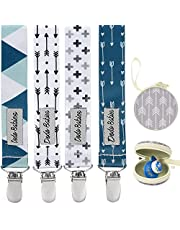 Pacifier Clip by Dodo Babies Pack of 4 + Pacifier Case, Premium Quality Modern Designs Universal Holder Leash for Boys and girls, Teething Toy or Soothie, Baby Shower Gift Set