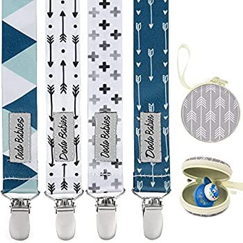 Pacifier Clip by Dodo Babies Pack of 4 + Pacifier Case PremiumQuality Modern Designs Universal Holder Leash for Boys and Girls Teething Toy or Soothie Baby Shower Gift Set