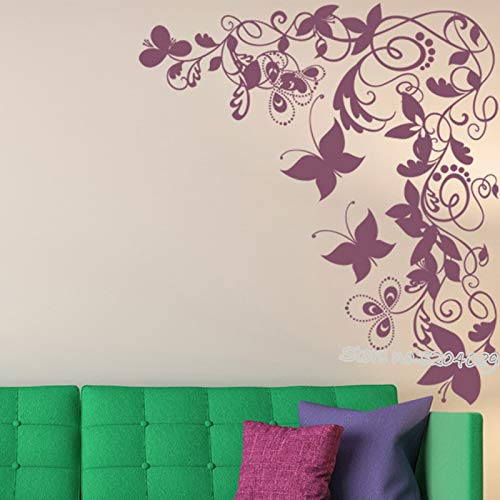 TYLPK Papillon Vigne Coin Fleur Arbre Sticker Mural Filles Chambre salon fond Stickers Muraux Swirl Desidn Home Decor 84x94 cm