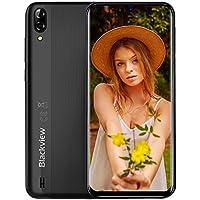 "Blackview A60 Smartphone Dual SIM con Pantalla 6.1"" (15.7cm) Water-Drop Screen, 13MP+2MP+5MP, 16GB ROM (SD 128GB), 4080mAh Batería Smartphone Libre, Android 8.1 Telefono Movil, GPS/WiFi-Negro"
