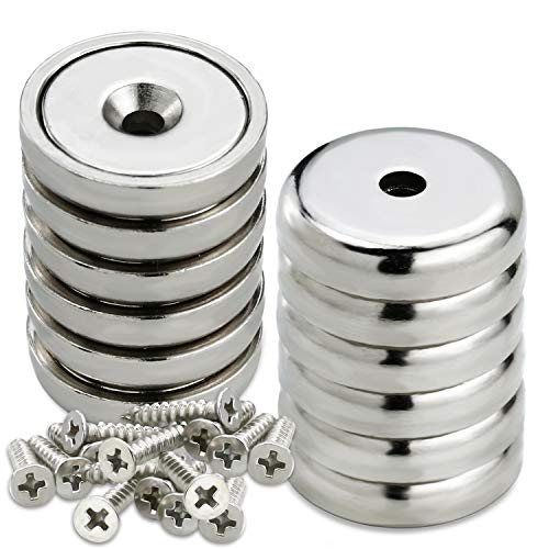 LOVIMAG 60 lbs Holding Force Neodymium Cup Magnets, Industrial Strength Round Base Rare Earth Magnets with Heavy Duty Countersunk Hole and Stainless Screws for Tool Room,Workplace etc, Pack of 12