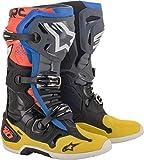 Alpinestars Botas de motocross Tech 10 para hombre, negro (Negro Amarillo Azul Rojo Fluo), 44.5 EU