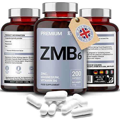 Zinc, Magnesio, Vitamina B6 | Máxima Potencia + Fácil de ingerir | Promueve la Fuerza Muscular, la Resistencia y la Recuperación, Aumenta los Biveles de Testosterona, Mejore el Sueño