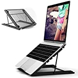 JUMKEET Support de Ordinateur Portable Ventilé, Réglable Inclinable Table de Lit Pliable, Ergonomique Stand de Bureau Pliable pour MacBook Air Pro/PC/iPad/Notebook/Tablette (11-17 Pouce) (Black)