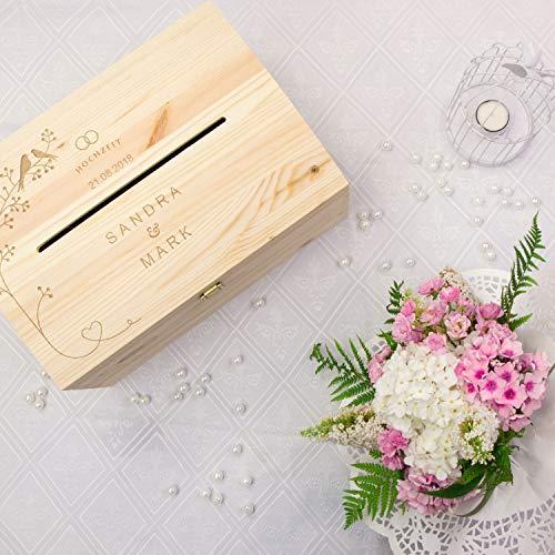 LAUBLUST Holztruhe mit Schlitz zur Hochzeit - Vogel-Pärchen - Personalisierte Geschenkkiste - 35x25x19cm, Natur, FSC® - 3