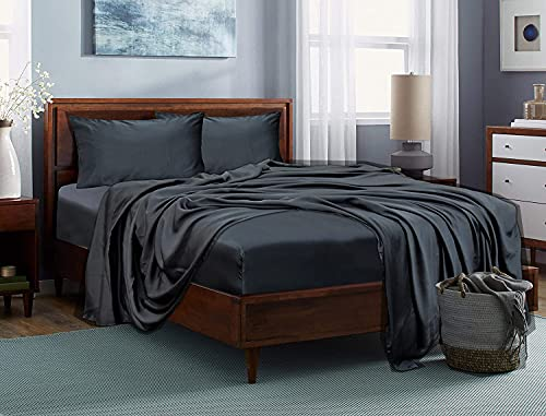 LINENWALAS 100% Tencel Lyocell Bed Sheets Set 4PC- Softest Cooling Eucalyptus Sheets (Queen, Charcoal Gray)