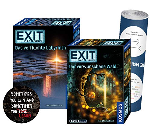 Kosmos Exit Das verfluchte Labyrinth mit Der verwunschene Wald (Level: Einsteiger) + 1x Exit-Sticker + 1x optisches Täuschungsposter