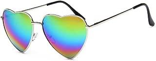 Color Coated Full Metal Frame UV400 Heart Shape Sunglasses Eyewear