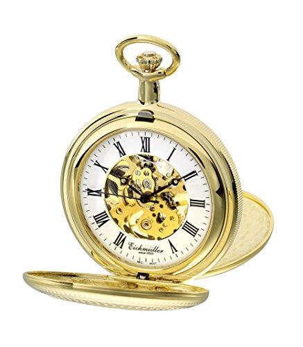 PUREgrey - Reloj de bolsillo con doble tapa, mecanismo visible, chapado de oro, cadena y estuche