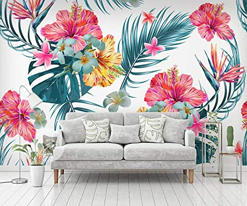 Papel Pintado 3D Mrales Flor Planta Tropical Foto Mural Pared Salón Fotomurales Decorativos Pared Papel