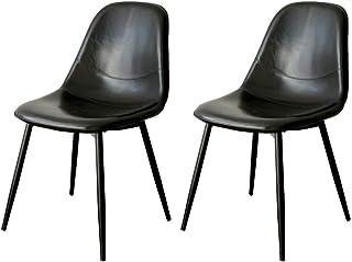 アイリスプラザ 【2脚セット】ダイニングチェア イームズチェア 椅子 北欧 おしゃれ ブラック EC2S‐75 幅44.5×奥行55.5×高さ81.5㎝ レトロブラック