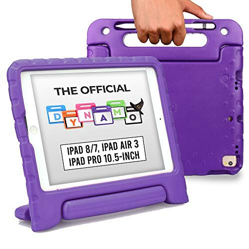 Official Cooper Dynamo [Rugged Kids Case] for 2020/2019 10.2 iPad (8th & 7th Gen), iPad Pro 10.5, iPad Air 3 | Stand, Handle, Pencil Storage Slot (Purple)