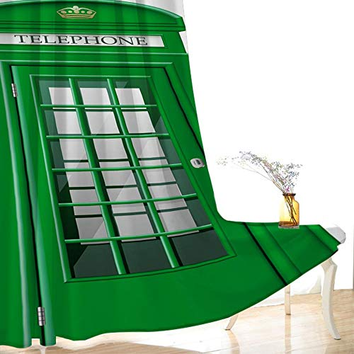CLYDX Vorhang Blickdicht Ösenschal 150x166 cm Gardinen mit Ösen Verdunkelungsvorhang Kinderzimmer Blickdichte Vorhänge Grau 2 Stücke - Grüne Telefonzelle