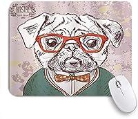 VAMIX マウスパッド 個性的 おしゃれ 柔軟 かわいい ゴム製裏面 ゲーミングマウスパッド PC ノートパソコン オフィス用 デスクマット 滑り止め 耐久性が良い おもしろいパターン (教授の赤メガネ弓マスターとヴィンテージの古いヒップスターパグ犬)