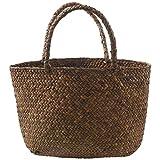 Potar LLssige - Bolso de paja natural para mujer, bolso de mano trenzado para jardín, hecho a mano de ratán