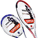oppum 2 Players Tennis Rackets - 27 inch, Student Adult Women and Men Beginners Rackets Training Tennis Racquets - 4 3/8 Inch Grip (2pcs Rackets (Blue+Red))