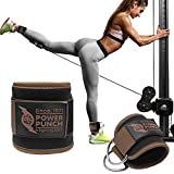 POWER PUNCH Ankle Straps for Cable Machines | Glute Workouts | Leg Workouts | Weight Machines | Leg Extensions | Cable Kickback | Neoprene Padded Support for Men and Women