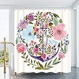 FINLI Duschvorhang, Wasserfarben-Anker mit rosa Blumen & grünen Blättern, wasserdichter Polyester-Stoff, Badezimmer-Dekor, Badvorhang-Set mit Haken, 183 x 183 cm
