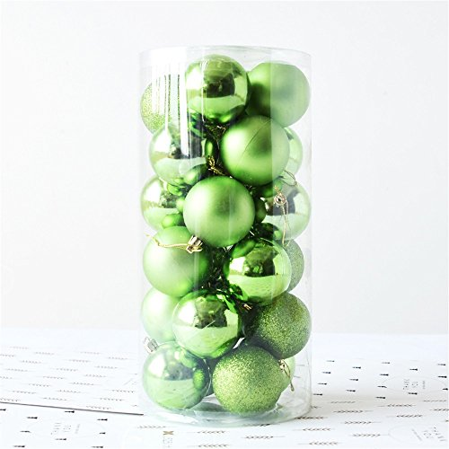 Lipoipo 24pc Christmas Ball Ornaments Small Christmas Tree Decorations Hanging Ball for Holiday Wedding Party Green