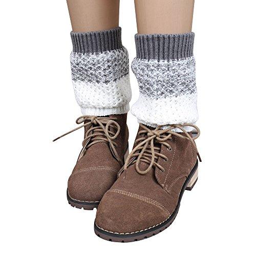 KPILP 1 Para Frauen Stulpen Jacquard Gestrickte Bein Bootssocken Winter Warmers Socken Boot Cover Winter Herbst Freizeitsocken Strumpfhose,Grau