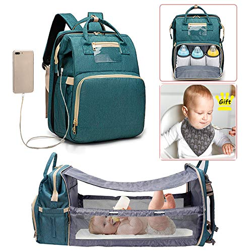 3-in-1 Travel Diaper Bag with Bassinet Backpack Changing Station Portable Baby Bed Mommy Nappy Bag for Mom Waterproof Washable Crib Stroller Straps Large Capacity Green