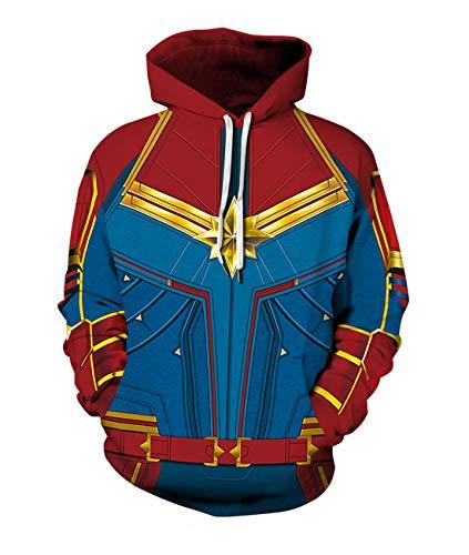Leezeshaw 3D Capitán Marvel - Sudadera con capucha con capucha para disfraz de superhéroe con bolsillos para hombre y mujer S-3XL