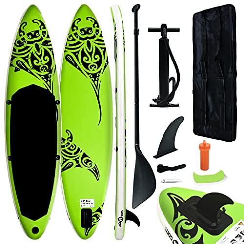 vidaXL Juego de Tabla de Paddle Surf Hinchable Inflable Portátil Deporte Viaje Piscina Lago Bomba Manual Estable Duradero Verde 305x76x15 cm