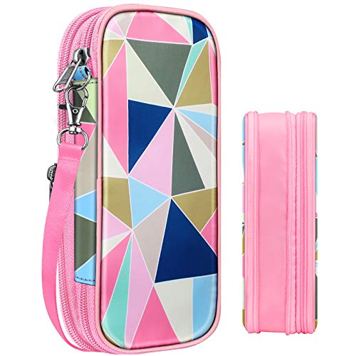 FINPAC Foldable Pencil Case, Large Capacity Pencil Box, Pen Pouch Stationery Storage Organizer for Teen Girls Boys Kids, Office School Supply for Students (Geometric-pink)
