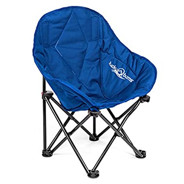 Lucky Bums Kids Oversized Folding Lounge Camp Chair, Navy, Small