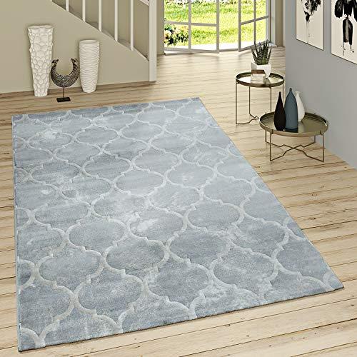 Paco Home Kurzflor Teppich Modern Marokkanisches Muster Vintage Style Ombre Look Grau Weiß, Grösse:80x300 cm