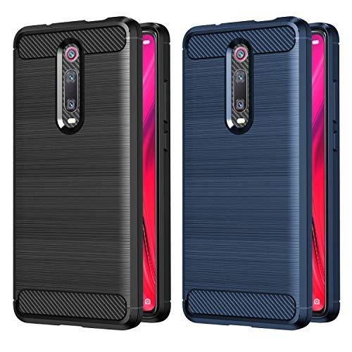VGUARD [2 Stücke] Hülle für Xiaomi Mi 9T / Xiaomi Mi 9T Pro, Carbon Faser Hülle Tasche Schutzhülle mit Stoßdämpfung Soft Flex TPU Silikon Handyhülle für Xiaomi Mi 9T / Xiaomi Mi 9T Pro (Schwarz+Blau)