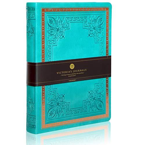 VICTORIA\'S Journal Vintage - Cuaderno de piel sintética con forro de aspecto antiguo, color turquesa