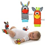 Donkey Zebra Wrist Rattle Socks Toys Foot Finder Set 4 in 1 Baby Infant Soft Animal Toys Developmental Soft Toys