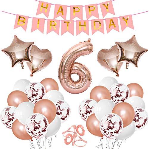 Gxhong Globos para decoración de cumpleaños, color oro rosa, número 6, globos gigantes, confeti, globo, corazón, estrella, globos con números, guirnalda de cumpleaños para niños